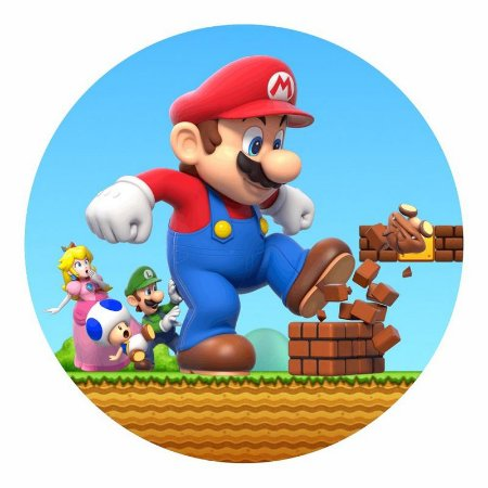 Painel Tecido Redondo Super Mario Decoração Festa 04