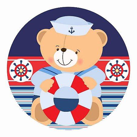 Painel Tecido Redondo Ursinho Marinheiro Decoração Festa 09