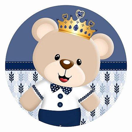 Painel Tecido Redondo  Ursinho Principe Decoração Festa 02