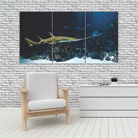 Quadro Mosaico Decoração Animal 121x65 com 3 Peças Mod 73