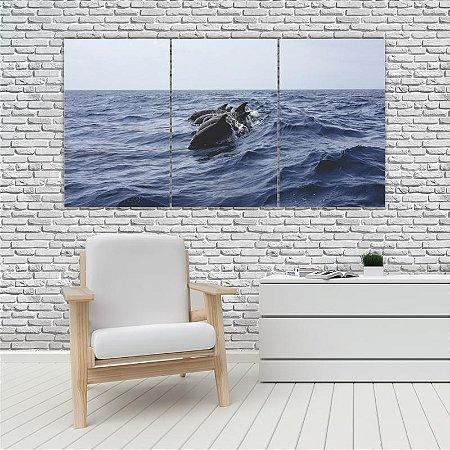 Quadro Mosaico Decoração Animal 121x65 com 3 Peças Mod 79