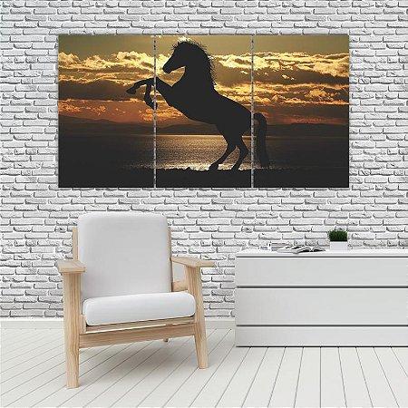 Quadro Mosaico Decoração Animal 121x65 com 3 Peças Mod 82