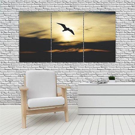 Quadro Mosaico Decoração Animal 121x65 com 3 Peças Mod 89