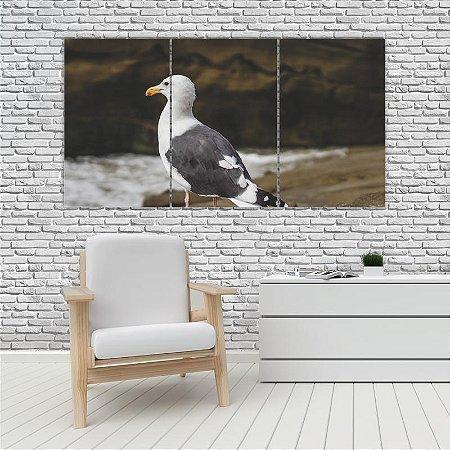 Quadro Mosaico Decoração Animal 121x65 com 3 Peças Mod 94
