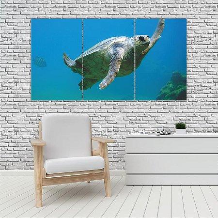 Quadro Mosaico Decoração Animal 121x65 com 3 Peças Mod 99