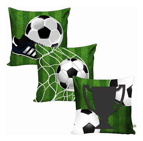 3 Capas De Almofada Divertida Decoração Futebol Tecido