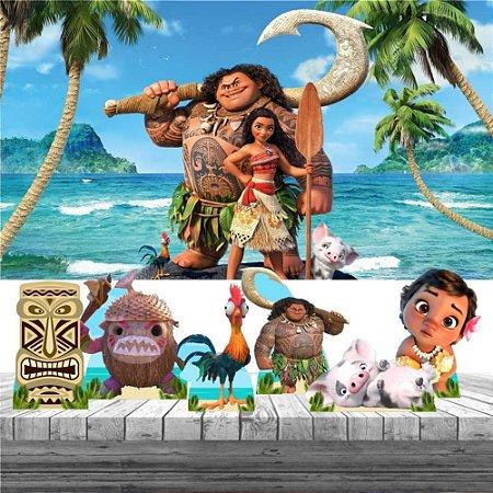 Kit Festa Moana Maui 6 Display + Painel Aniversário