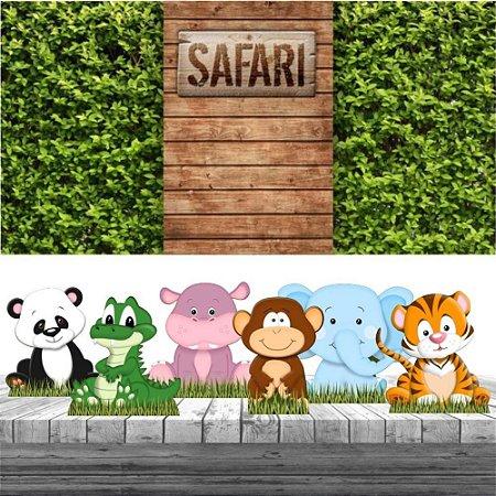 Kit Festa Safari Animal 6 Display + Painel Aniversário