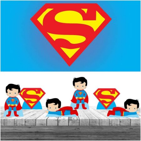 Kit Super Man Cute Display + Painel Aniversário Festa