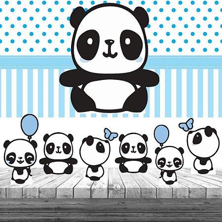 Kit Panda Menino Azul Display + Painel Aniversário Festa