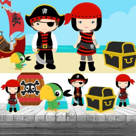 Kit 6 Displays Piratas Cute Decoração Painel Festa