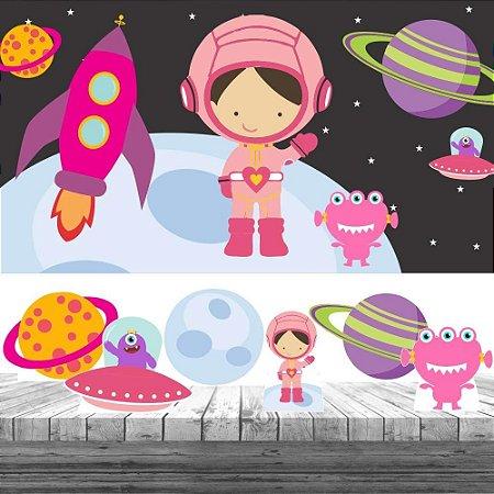 Kit Festa Astronauta Menina 6 Display + Painel Aniversário