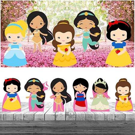 Kit 6 Display Mesa Princesas Cute Painel Decoração Festa