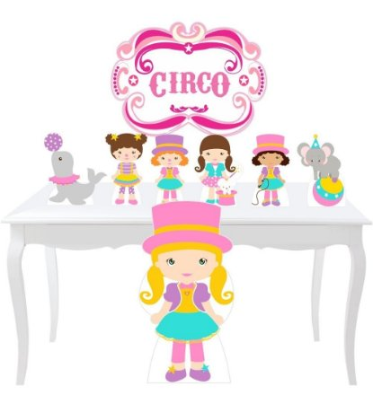 Kit 7 Totem Placa Circo Rosa Menina Aniversario Festa