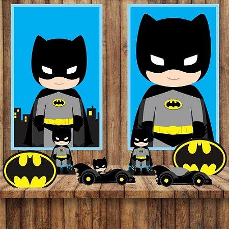 Kit 6 display Mesa E 2 Quadros Batman Cute Decoração Festa 1-2