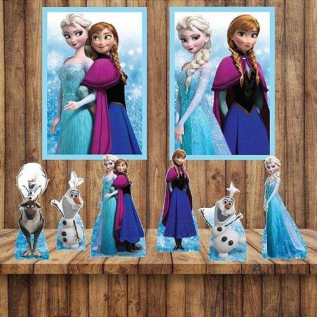 Kit 6 display Mesa E 2 Quadros Frozen Decoração Festa 1-2