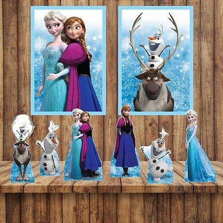 Kit 6 display Mesa E 2 Quadros Frozen Decoração Festa 1-6