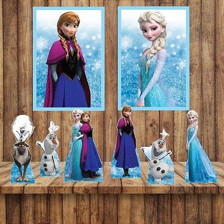 Kit 6 display Mesa E 2 Quadros Frozen Decoração Festa 3-4