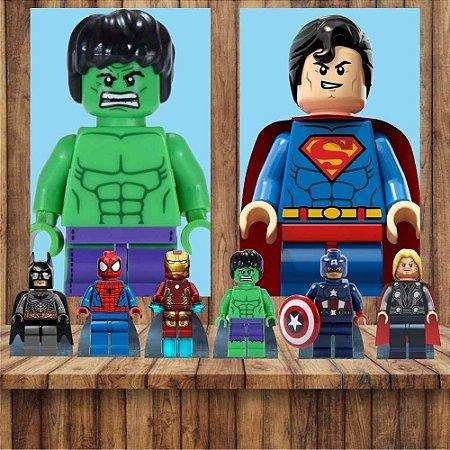 Kit 6 display Mesa E 2 Quadros Lego Herois Decoração Festa 7-1