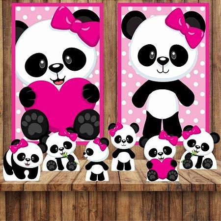 Kit 6 display Mesa E 2 Quadros Panda Menina Decoração Festa 1-2