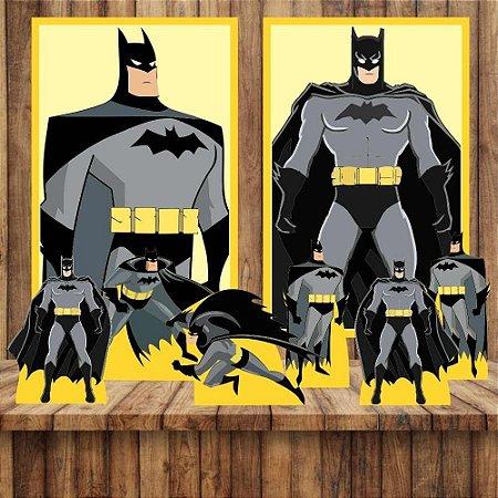 Kit 6 display Mesa E 2 Quadros Batman Decoração Festa 1-2