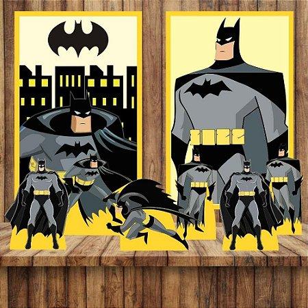 Kit 6 display Mesa E 2 Quadros Batman Decoração Festa 3-4