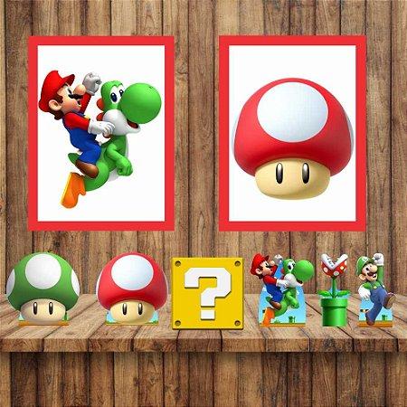 Kit 6 display Mesa 2 Quadros Super Mario Festa Mod 1-6