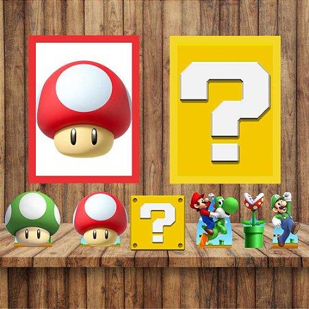 Kit 6 display Mesa 2 Quadros Super Mario Festa Mod 1-2
