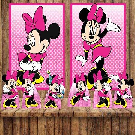 Kit 6 display Mesa E 2 Quadros Minnie Rosa Festa Aniversário 3-4