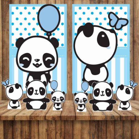 Kit 6 display E 2 Quadros Panda Menino Azul Decoração Festa 1-2