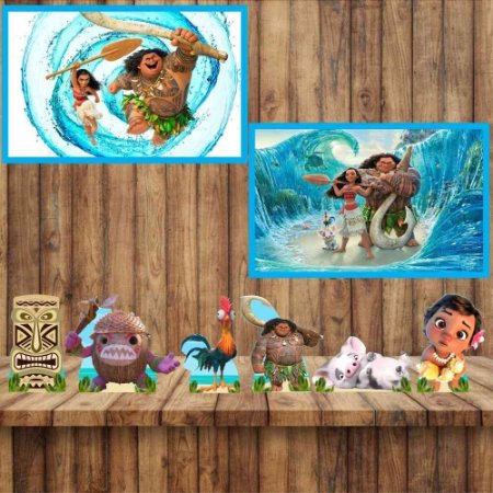 Kit 6 display Mesa 2 Quadros Moana Festa Aniversario 3-4