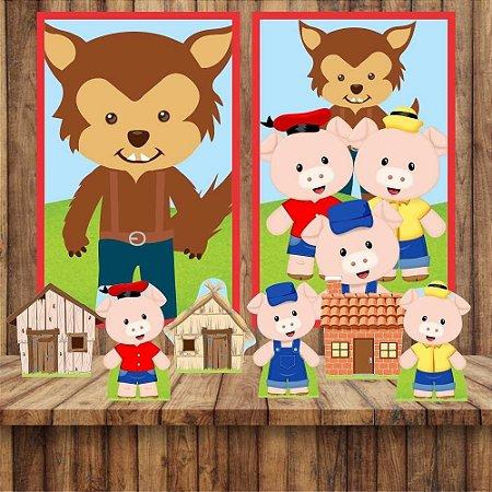 Kit 6 display Mesa E 2 Quadros Tres Porquinhos Aniversário 1-2