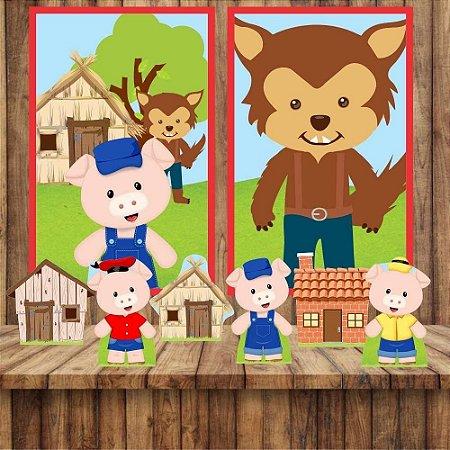 Kit 6 display Mesa E 2 Quadros Tres Porquinhos Aniversário 1-5