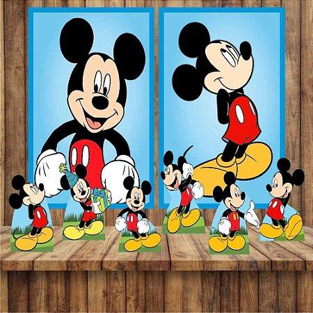 Kit 6 display Mesa 2 Quadros Mickey Mouse Festa Aniversario 1-2