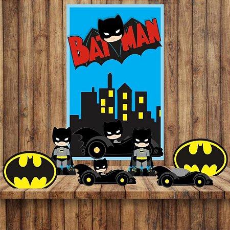 Kit 6 display Mesa E quadro Batman Decoração Festa 03