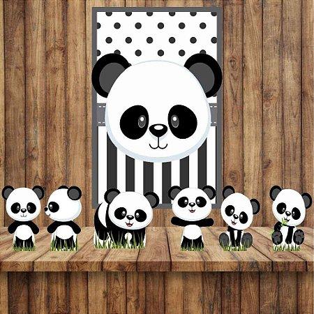 Kit 6 display Mesa E 1 Quadro Panda Baby Decoração Festa 03