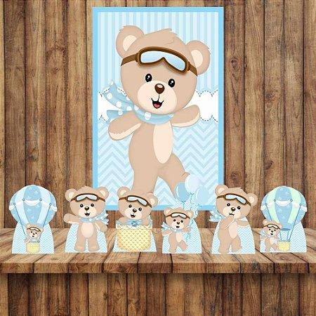 Kit 6 display Mesa e Quadro Ursinho Baloeiro Decoração Festa 01