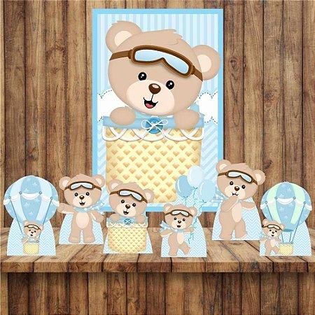 Kit 6 display Mesa e Quadro Ursinho Baloeiro Decoração Festa 04
