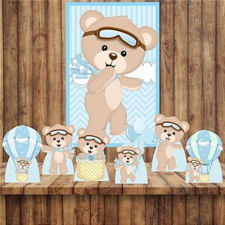 Kit 6 display Mesa e Quadro Ursinho Baloeiro Decoração Festa 06