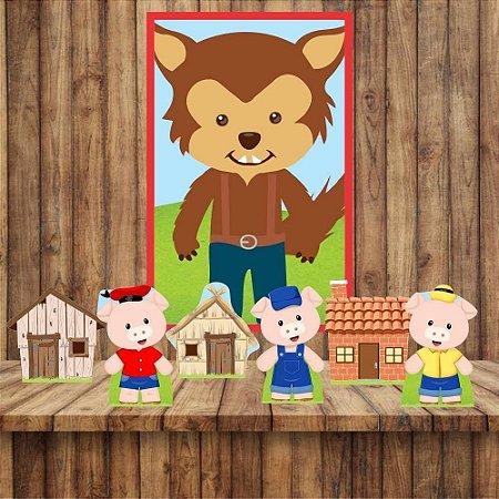 Kit6 display Mesa E Quadro Tres Porquinhos Festa Aniversário 01