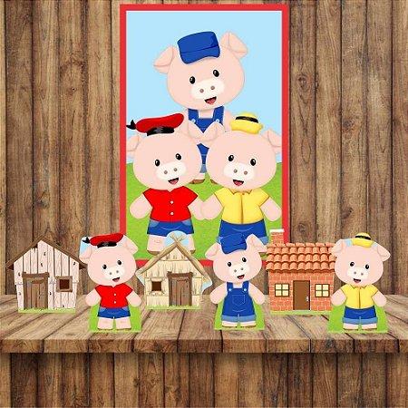 Kit6 display Mesa E Quadro Tres Porquinhos Festa Aniversário 03