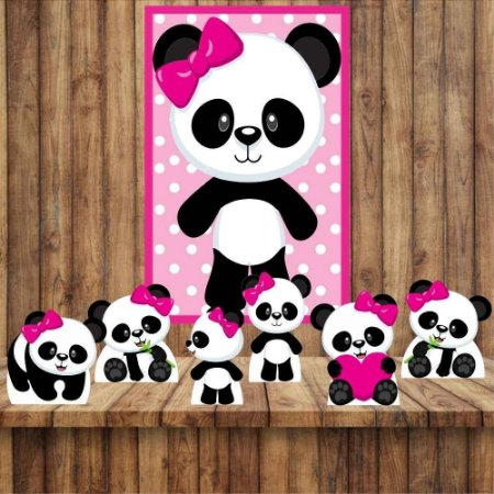 Kit 6 display Mesa E Quadro Panda Menina Festa Decoração 03