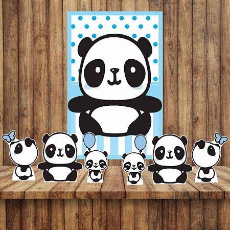 Kit 6 display Mesa E Quadro Panda Menino Festa Decoração 03