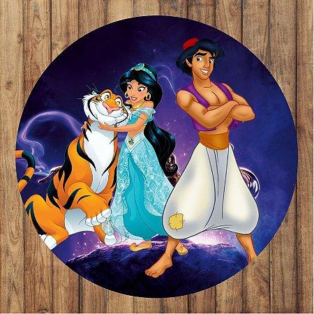 Painel Tecido Redondo Aladdin Decoração Festa 04