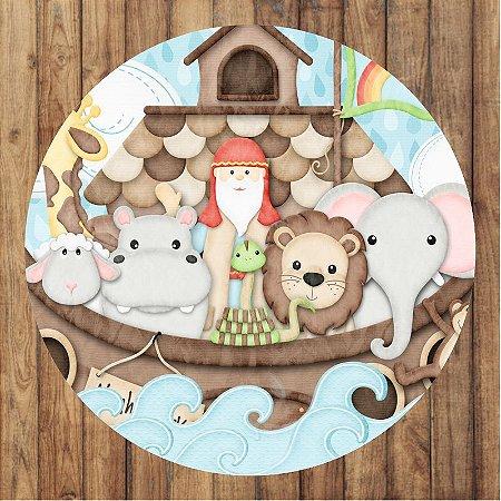 Painel Tecido Redondo Arca de Noé Decoração Festa 01