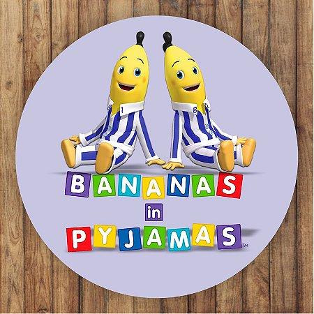 Painel Tecido Redondo Bananas de Pijamas Decoração Festa 02