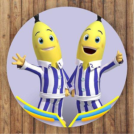 Painel Tecido Redondo Bananas de Pijamas Decoração Festa 03