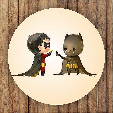 Painel Tecido Redondo Batman Cute Decoração Festa 04