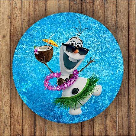 Painel Tecido Redondo Olaf Frozen Decoração Festa 02