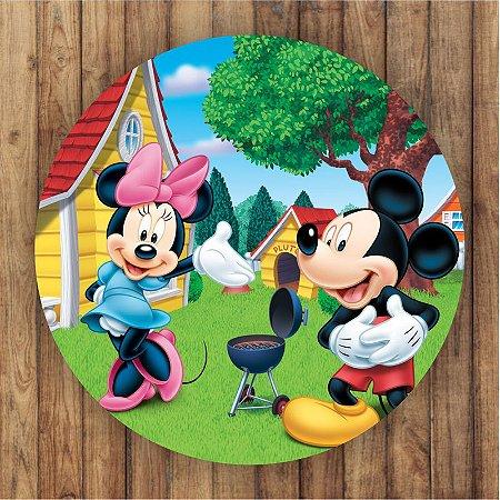 Painel Tecido Redondo Mickey Decoração Festa 01